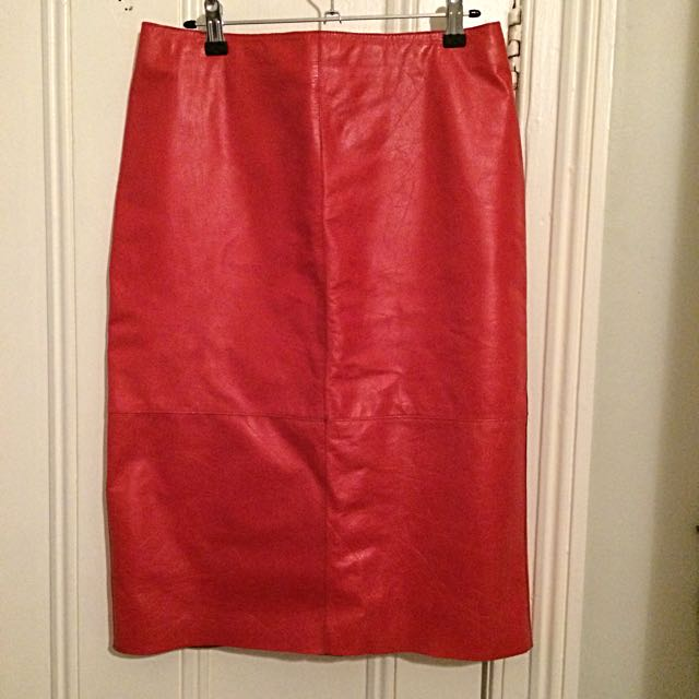 Kenneth Cole Leather Red Skirt