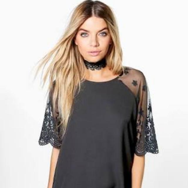 Lace Sleeve Shift Dress Size 8 Brand New From Boohoo