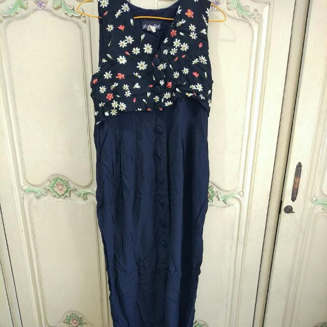 Long Navy Overall Classic Vintage