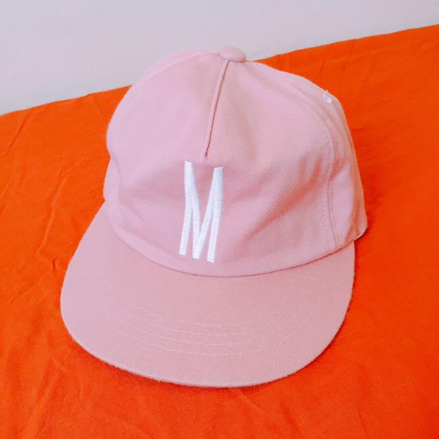 「正韓」粉紅M字軟帽