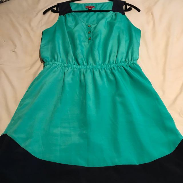 Merona Teal And Navy Summer Dress