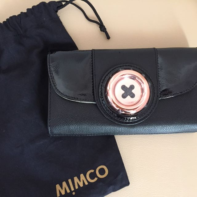 MIMCO Black lustre Button Wallet (BNWT)