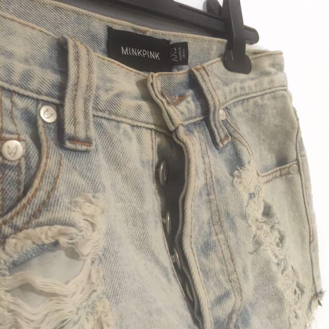 MinkPink High-Waisted Distressed Denim Shorts