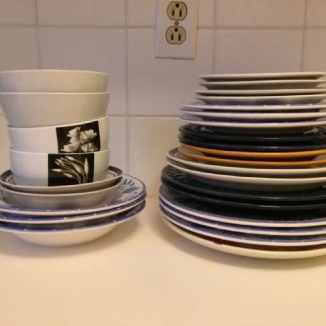 Mis-matched Plates & Bowls