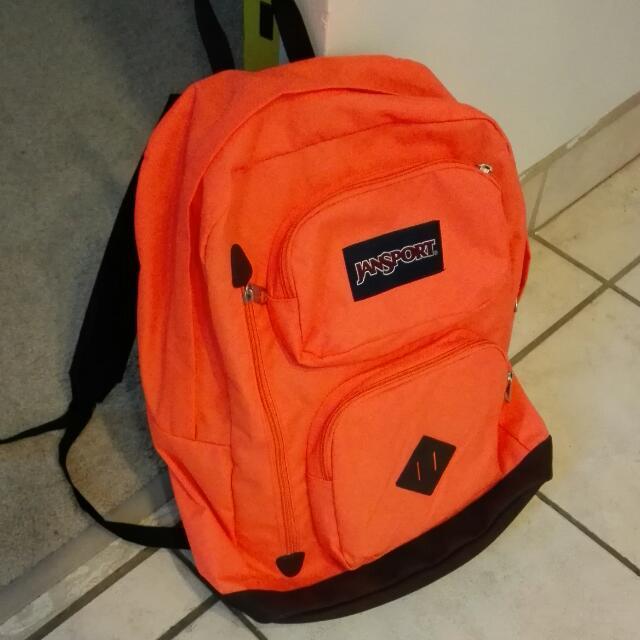 neon orange large JANSPORT backpack