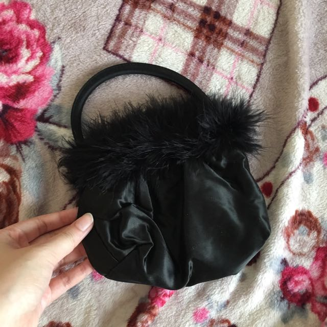No Brand Mini Black Fur Bag