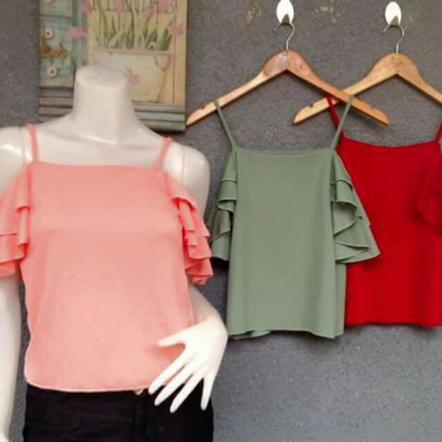 off shoulder top available: peach