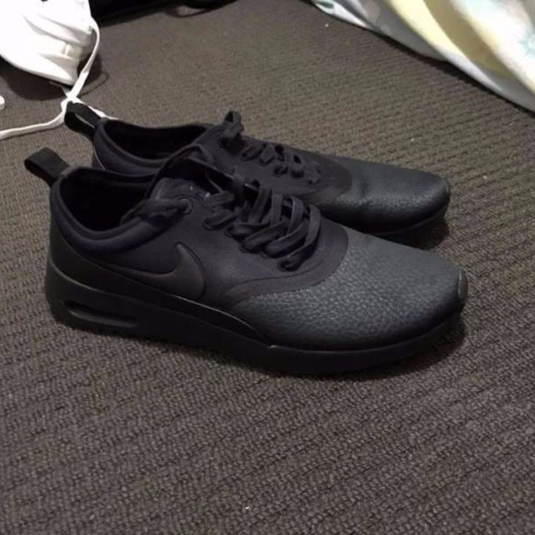 Original Nike Thea Triple Black Leather Unisex