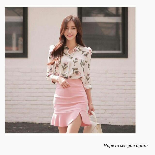 Pastel Blouse And Skirt Set