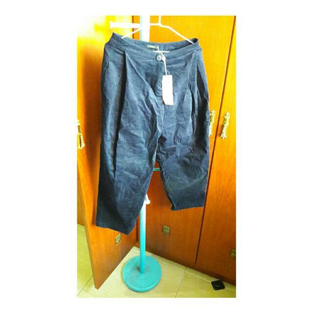 PAZZO 深藍 打摺寬褲