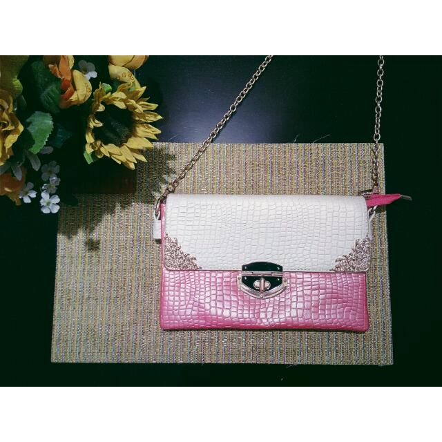 Pink Leather Sling Bag