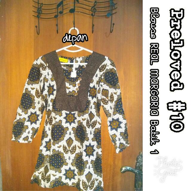 Preloved #10 @OmahPiyique - Blouse Panjang Batik Print THE REAL MARGARIA uk. M Lengan Panjang 7/8 motif burung dan bintang #WardrobeSale #OriginalProduct