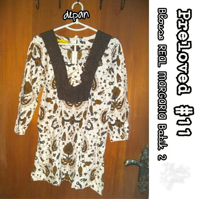 Preloved #11 @OmahPiyique - Blouse Panjang Batik Print THE REAL MARGARIA uk. M Lengan Panjang 7/8 motif burung merak #WardrobeSale #OriginalProduct