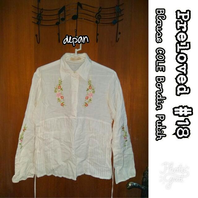 Preloved #18 @OmahPiyique - Kemeja Blouse Lengan Panjang COLE Putih Cream Bordir Bunga #WardrobeSale