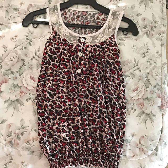 Red Animal Print Silky Razorback Blouse