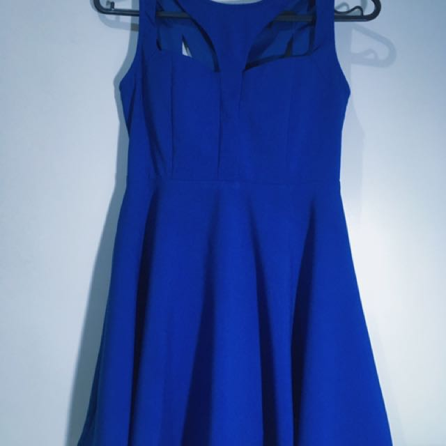 Royal Blue A-dress With Sexy Back