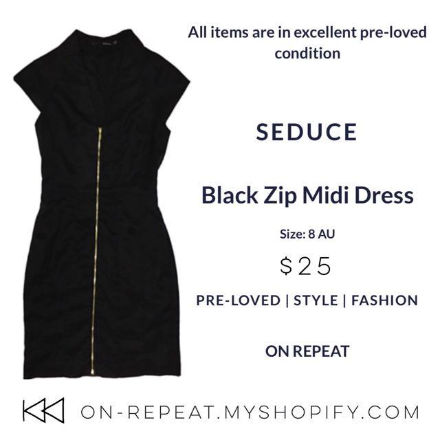 Seduce Black Pencil Zip Up Dress
