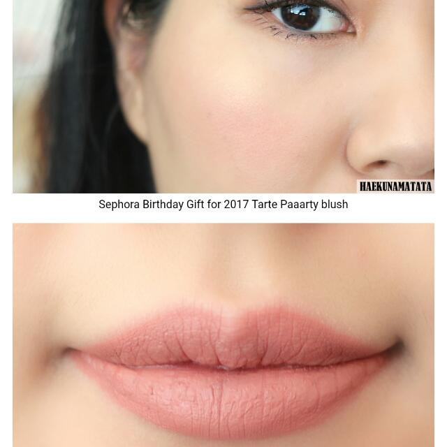 Sephora Birthday Gift 2017 Tarte Duo Review Amazonian Clay 12 Hour Blush In Paaarty Shade And Creamy Matte Lip Paint Suit