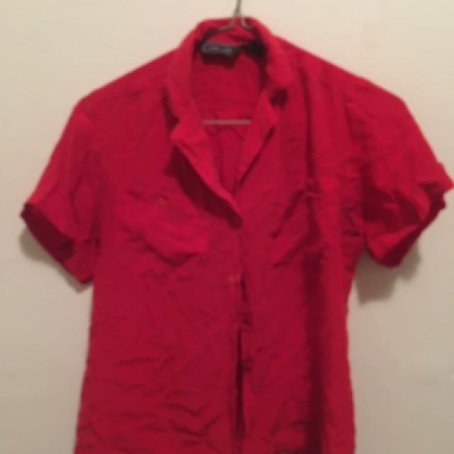 Silk Red Button Up