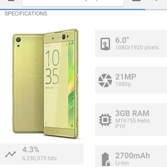 Sony XPeria Xa Ultra (Lime GOLD) 16gb ROM 3GB RAM