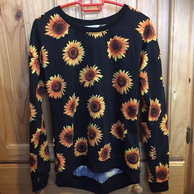 Sunflower Long Sleeve Black Shirt