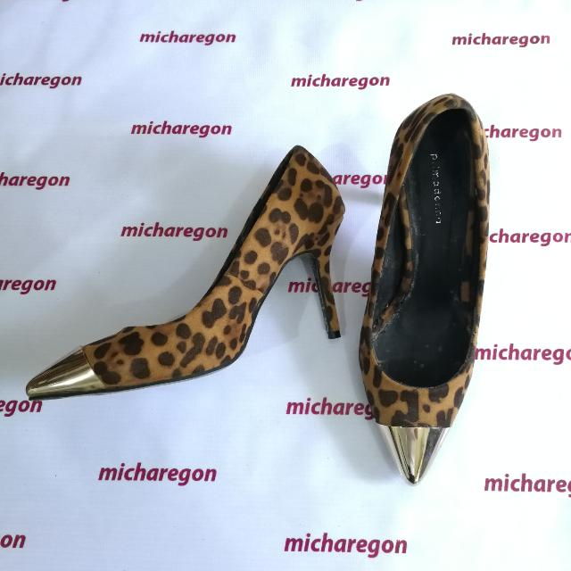 Sz40 Leopard Gold Cap-toe Pointed Pumps