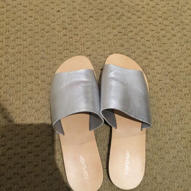 Topshop Genuine Leather Silver Slide Slippers Sandal