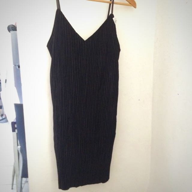 Topshop Inspired Black Velvet Like Dress