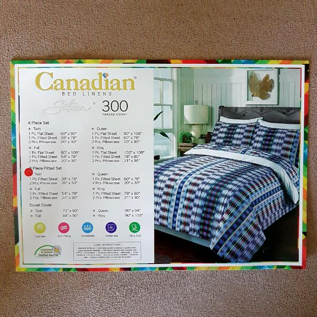 (NEW) Twin Size Fitted Bedsheet And 2 Pillowcases 300 Thread Count