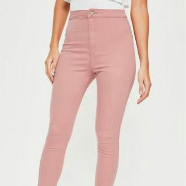 Ultra Stretch High Waisted Pink Skinny Jeans