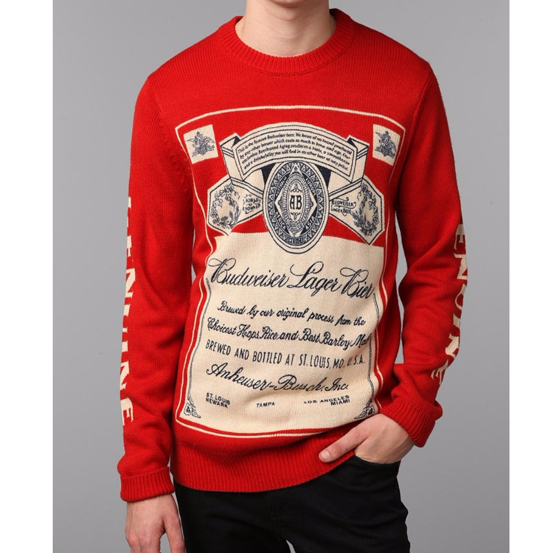 Urban Outfitters UO Budweiser beer red knit sweater