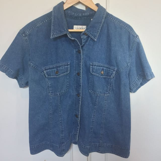 Vintage Denim Button-up Short Sleeve Shirt