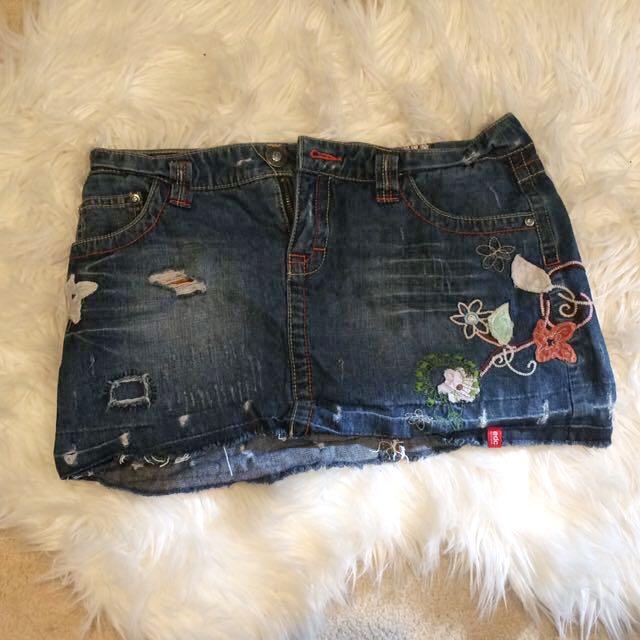 Vintage Denim Embellished Skirt
