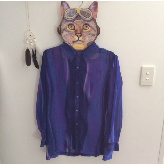 Vintage Purple Sheer Blouse