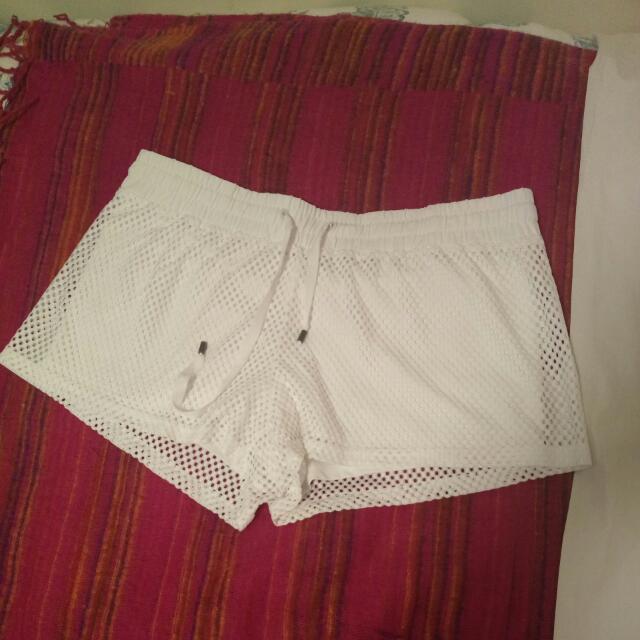 White Mesh Fabletics Shorts