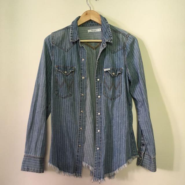 WRANGLER size 8 Oversized Pinstripe Denim Shirt / Jacket