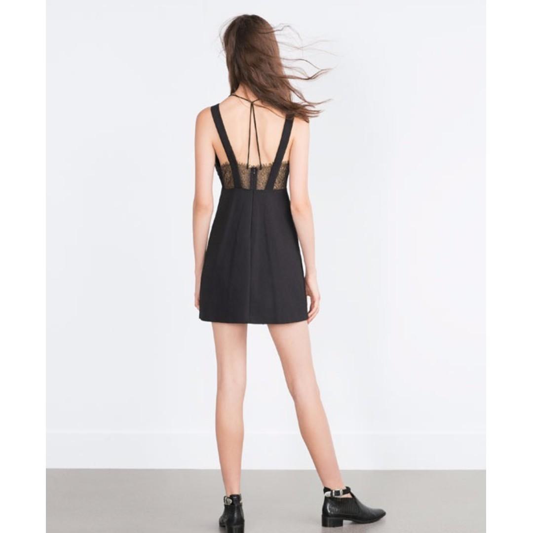zara 蕾絲黑洋裝 含運