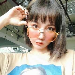 轉賣 正韓復古橘色鏡片太陽眼鏡