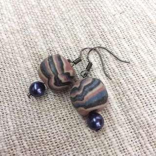 瓷珠耳環/紫
