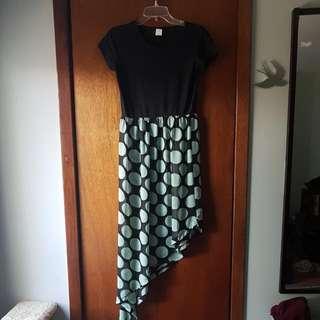 Mint Polka Dots Asymmetrical Dress (M)