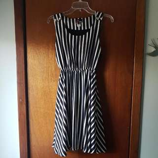 Navy Blue Striped Dress (S/M)