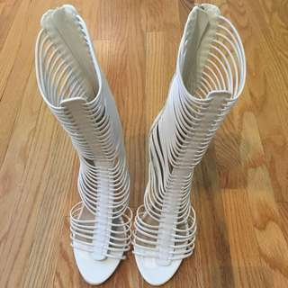 White Heels From JustFab Size 9