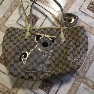 Gucci Guccioli Pug Canvas Tote Bag