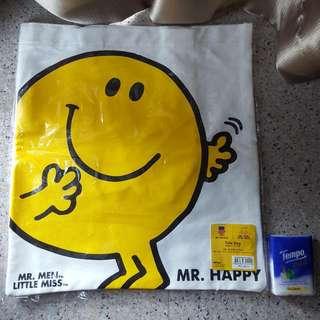 Mr Man Mr Happy Tote Bag袋 (約3x37cm) (全新未開New Unopen)