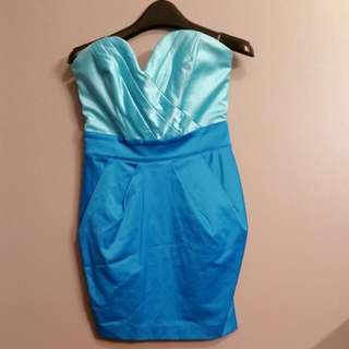 bebe 2 Tone Blue Strapless Dress Size Small