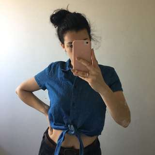 MONKI Denim Tie Crop Top
