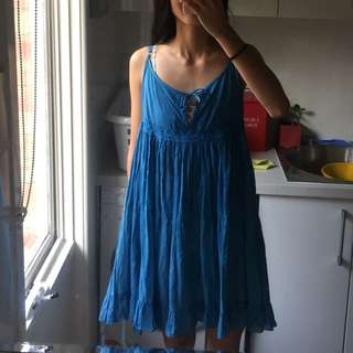 Blue Summer Dress/coverup With Tie Front/back