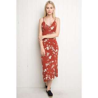 Brandy Melville Red Floral Aliza Dress