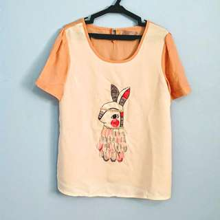 [Repriced!] White and Peach Blouse