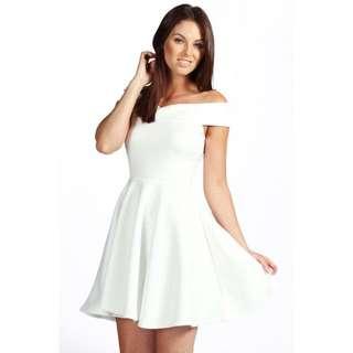 Tasmin White Off the Shoulder Skater Dress